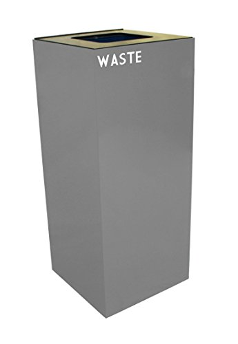 - Witt Industries 36GC03-SL GeoCube Recycling Receptacle with Waste Opening, Steel, 36 gal, Slate