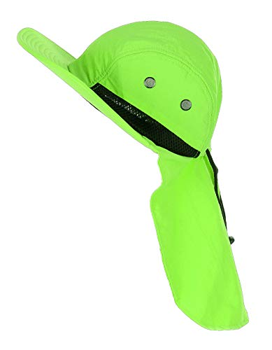 RufnTop Unisex Cotton Outdoor Sun Hat for Hiking, Safari, Camping, Hunting, Garden Wide Brim Cap with UPF 50+ Sun Protection, Foldable (Fishing Cap, Green)