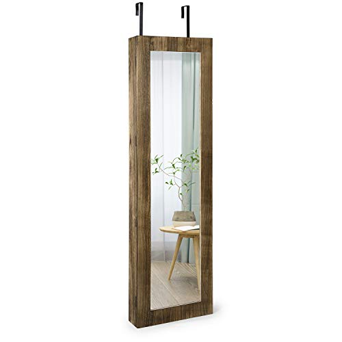 SRIWATANA Jewelry Cabinet Armoire with Full Length Mirror, Lockable Jewelry Organizer Wall Hanging or Door Mounted(Carbonized Black)