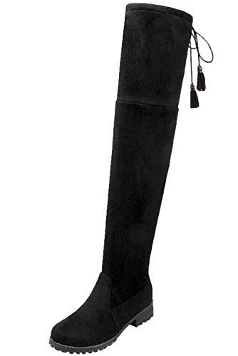 BIGTREE Botas altas del muslo Mujer Cordones Casual Otoño Invierno Plegable Cómodo Cálidas Planas Sintética Ante Botas largas De Negro