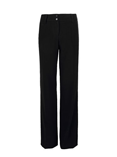 Women's Plus-Size Curvy-Fit Gabardine Bootcut Trouser B-Black - Gabardine Pants Leg Straight
