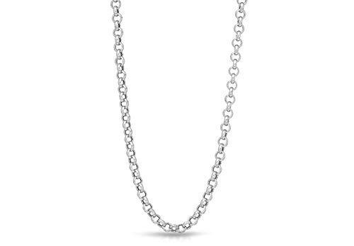Verona Jewelers 925 Sterling Silver 1.5MM 2MM 2.5MM Circle Rolo Link Chain Necklace- Rolo Link Necklace for Women, Necklace for Pendant,16,18,20,24,30 (16, 2.5MM)