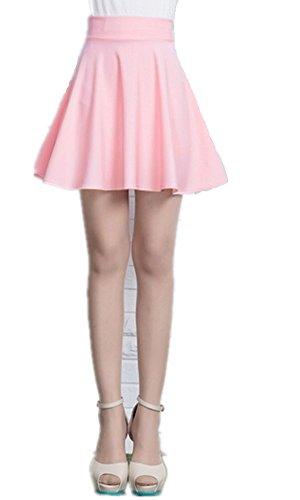 Mullsan Women Fashion Jersey Knit Flared A-Line Mini Skater Circle Skirt w/ Safety Shorts (Pink)