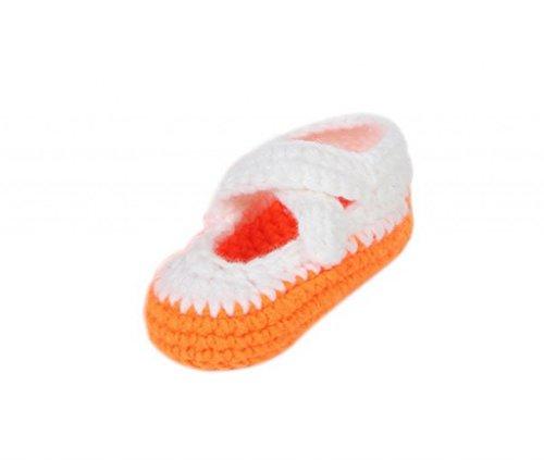 Smile YKK Gestrickte Krabbelschuhe Schuhe flauschige Baby-Unisex Länge 11 cm Flip Flops Violett Einfarbig Orange Q