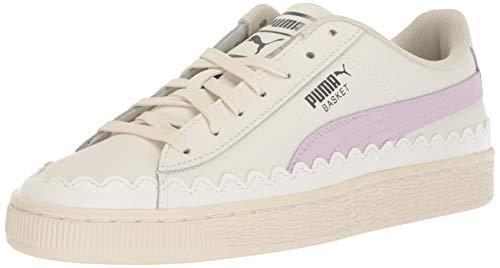 PUMA Women's Basket Scallop Sneaker, Whisper White-Winsome Orchid, 8.5 M - Scallop Basket