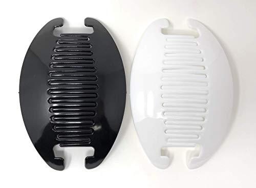 2 set Interlocking Banana Combs Hair Clip French Side Comb Holder (Black-White)