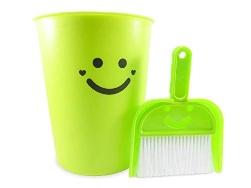 Neon Green Wastebasket Plastic with Dustpan and Brush 1.5 Gallon 9.75 Inches Tall - The Happiest Wastebasket and Dustpan on Earth (3 Piece Set) by Daiso Japan (Image #4)