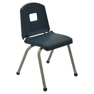 Creative Colors 12CHRB-NV-BM Split-Bucket Chair, Ball Glides, 12'' Height, Navy Seat and Back, Brushed Metal Frame by Creative Colors
