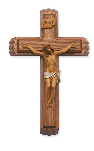 Sick Call Last Rites Walnut Stain Wood Resin Corpus Religious 13 Inch Wall Cross Crucifix