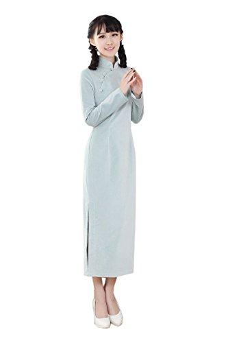 Traditionnel Chinoise Qipao Longue Style Claire Cheongsam Bleu Manche Robe En Duvet Acvip Femme EwZX6nqxgI