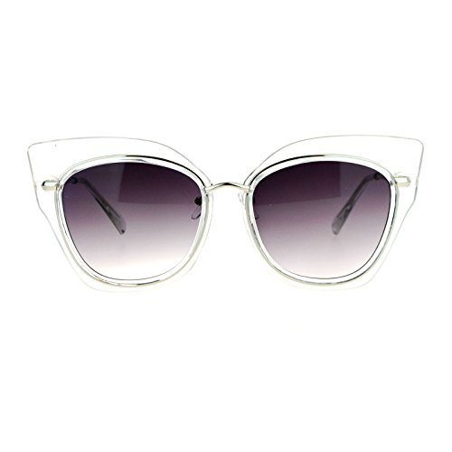 SA106 Flat Panel Oversize Cat Eye Double Frame Womens Sunglasses Clear (Silver Flat Panel Frame)