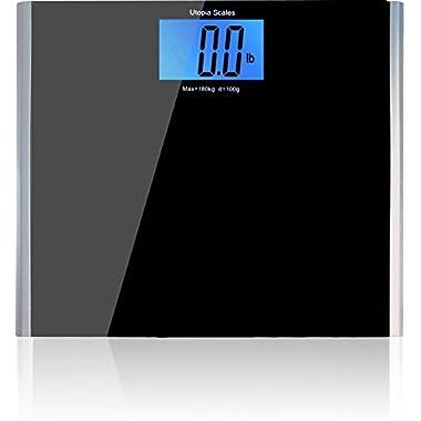 Wide Platform Digital Body Weight Bathroom Scale (400 lbs, 4.3 inch LCD) - Black