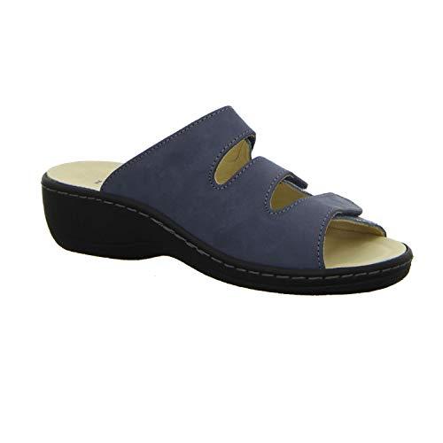 Mujer Zuecos Lisa Para Longo Azul De Piel qw8Sz1R