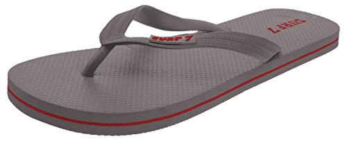 Lucky 7 Men's Casual Classic Flip Flops Summer Beach Pool Vacation Sandals Grey 11 (Classic Thong Rubber)