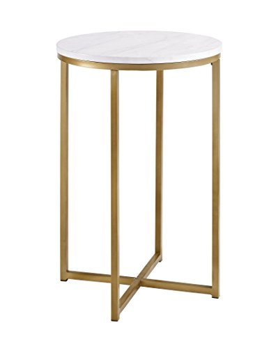 We Furniture AZF16ALSTMGD Modern Round Side End Table, Faux Marble/Gold