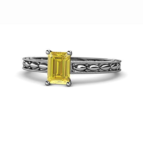 Emerald Cut Yellow Sapphire Marquise Design Womens Solitaire Engagement Ring 14K White Gold.size (Emerald Cut Yellow Sapphire)
