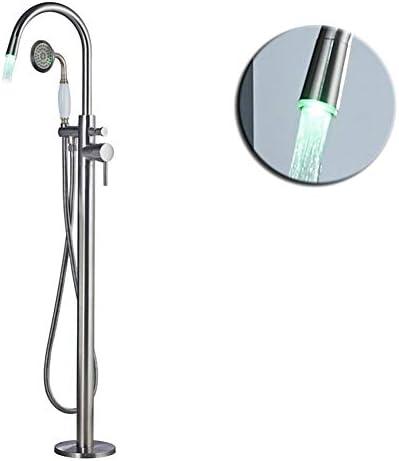 自立型バスタブ蛇口LED、バスルームバスタブシンクミキサーシングルポールフロアマウントバスタブミキサータップハンドシャワー付き,Chrome b