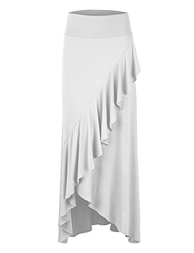 Lock and Love WB1356 Womens Wrapped High Low Ruffle Maxi Skirt S White