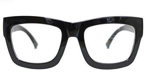 Vintage Inspired Geek Oversized Square Thick Horn Rimmed Eyeglasses Clear Lens (BLACK 30101, ()