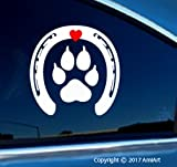 horseshoe window decal - Horse and Dog Lover - PAW inside HORSESHOE- WHITE with RED Love HEART- 5