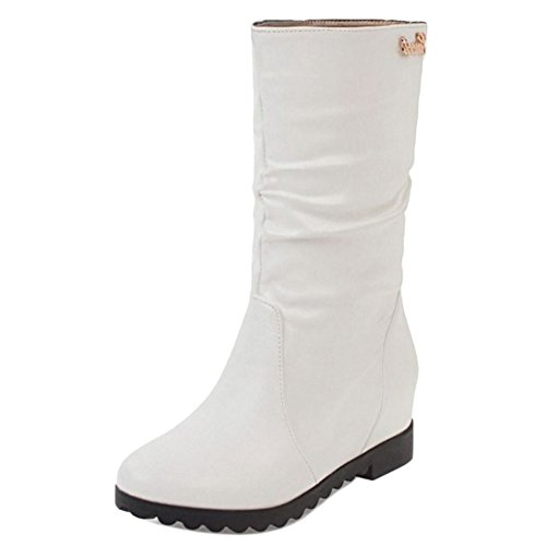 Coolcept Women Comfort Low Flats Slouch Boots Pull On Mid Calf White-H 94gg8h7l