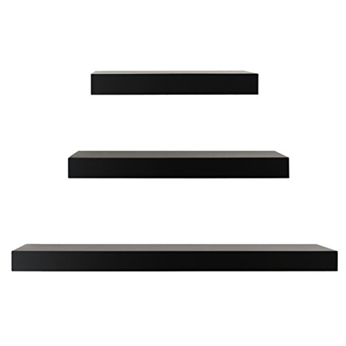 Kiera Grace Maine Wall Ledges , 12 Inch, 16 Inch, 24 Inch, Black, Set of 3 by Kiera Grace
