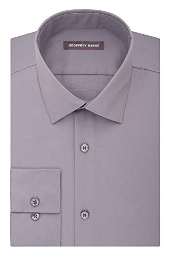 - Geoffrey Beene Men's Sateen Fitted Solid Spread Collar Dress Shirt, Gunmetal, 17