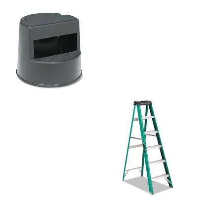 KITDADFS4006RCP252300BK - Value Kit - Rubbermaid Rolling Step Stool (RCP252300BK) and Ladder, Step, Fibergls Ii, 6' (DADFS4006) by Rubbermaid
