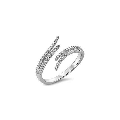 .925 Sterling Silver Cubic Zirconia Bypass Wrap Style Ring - Size (Cubic Zirconia Bypass Ring)