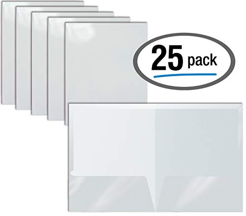 2 Pocket Glossy Laminated White Paper Folders, Letter Size, 25 Pack, White Paper Portfolios by Better Office Products, Box of 25 White Folders