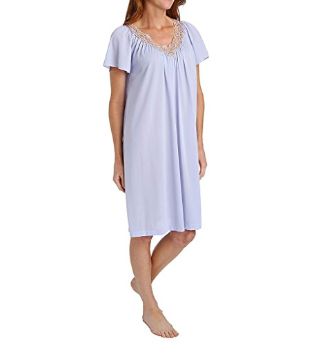 Shadowline Women's Rhapsody Short Flutter Sleeve Waltz Gown, Peri, Medium (Nylon Chemise Embroidered)