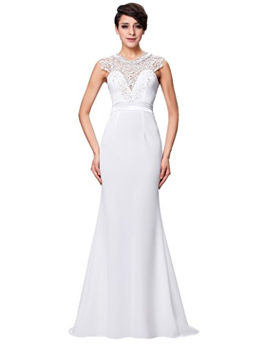 Women's Elegant Lace Wedding Bridesmaid Maxi Formal Dress Size 6 (2)