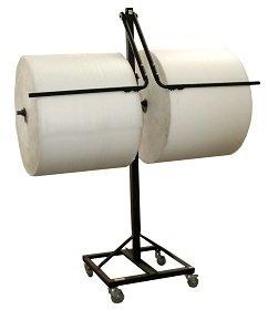 36'' Telescoping Double Arm Bubble Wrap® & Foam Roll Floor Unit Dispenser w/ Casters & Tear Tag by FastPack Packaging