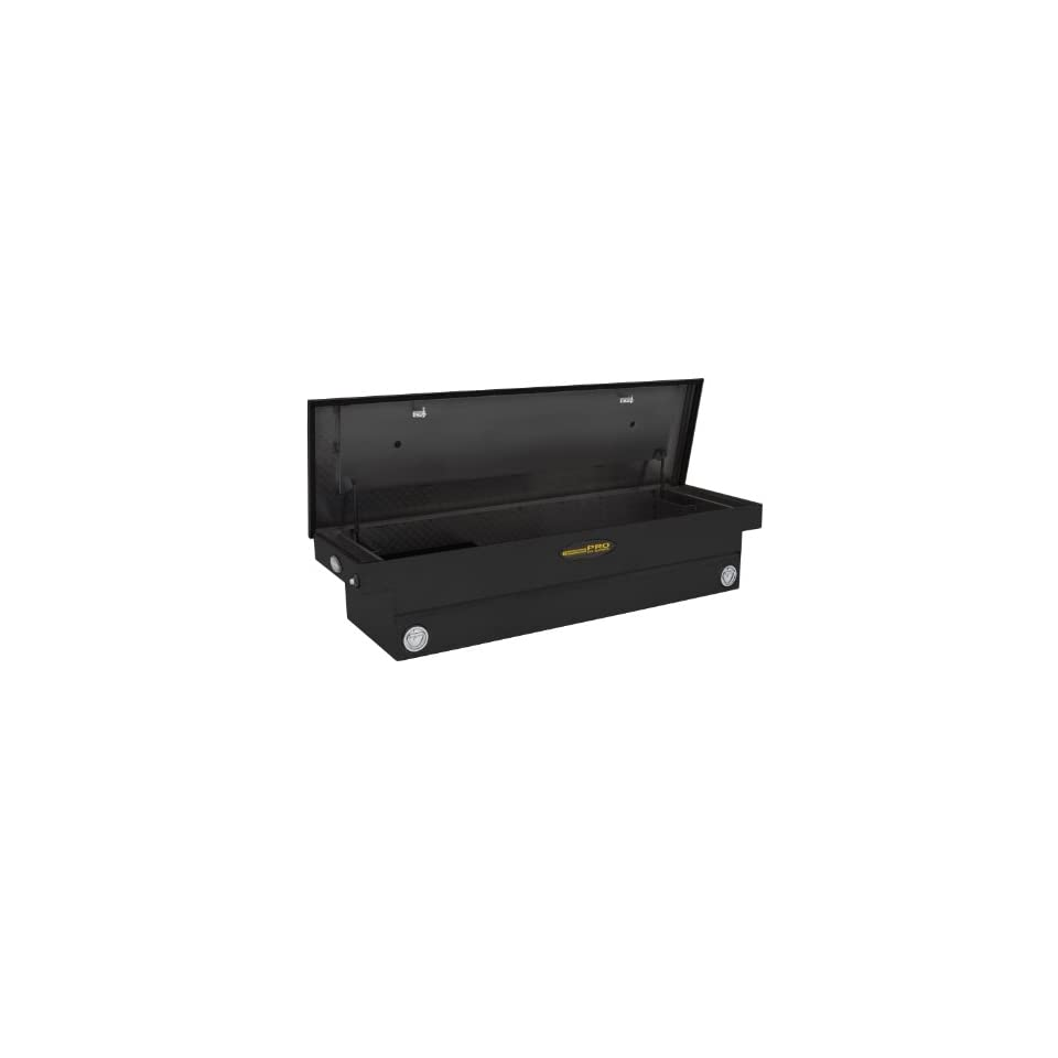 Lund/Tradesman 75400DBPB Black 71 Inch Full Size Aluminum Deep Well Cross Bed Truck Tool Box with Single Foam Filled Lid and Push Button