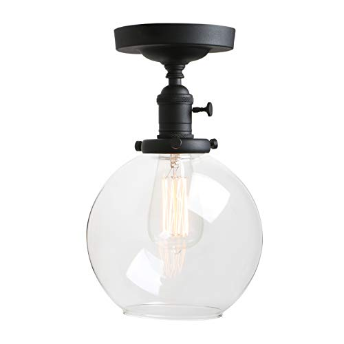 Pathson Ceiling Light, Vintage 1-Light Pendant Lighting with Clear Glass Shade, Semi Flush Mount Close to Ceiling Hanging Lamps -