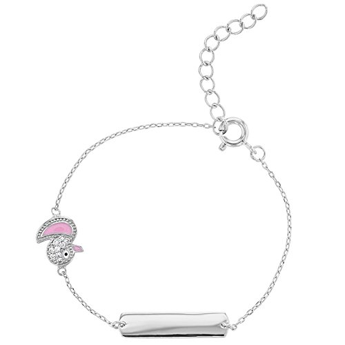 925 Sterling Silver Identification ID Bracelet Clear CZ Pink Enamel Duck (Enamel Duck)