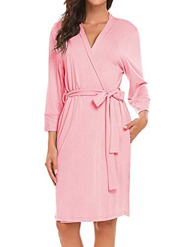 BLUETIME Women Robe Soft Kimono Robes Cotton Bathrobe Sleepwear Loungewear Short (S, Pink) ()