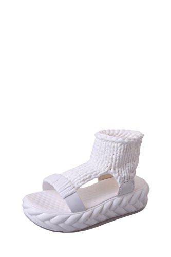 Chaussures Plates Bouche White tissé Fond Poisson Sandales Main d'été épais à HCrwZ7UqHx