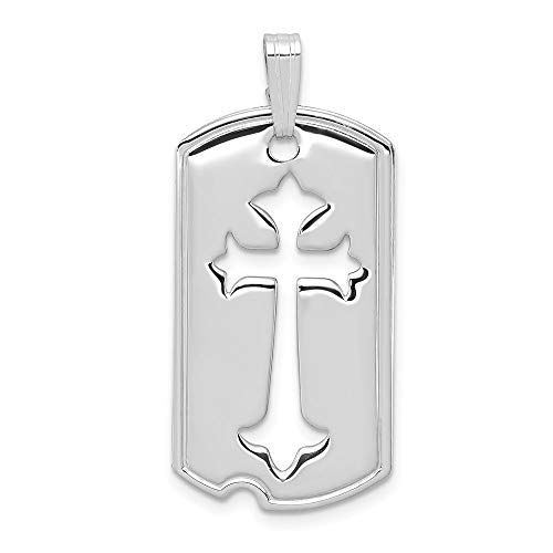 (Mia Diamonds 925 Sterling Silver Solid Polished Dog Tag with Cut Out Cross Pendant (38mm x 16mm))