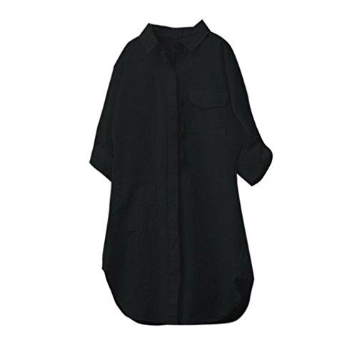 Lin Noir Chemisier Longues Chemise Femme Dcontract Bringbring Tops Blouse Manches Chic Coton ZCtUCqw