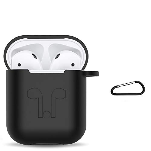 Amasing Case 2 in 1 Accessories Kits Compatible for Airpods Protective Silicone Cover and Skin Compatible for Airpod Case with Clips Keychain Black