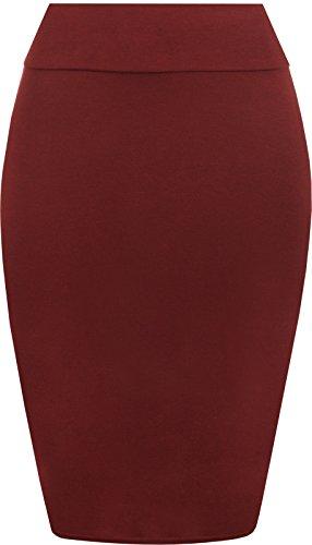 prettyfashion Womens Midi Jupe crayon Ladies Plain Jersey Bodycon Jupe tube plus taille 8?C?22 Wine