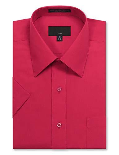 (JD Apparel Men's Regular Fit Short Sleeve Dress Shirts 16-16.5N Large Fuchsia)