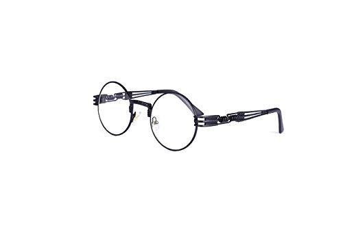 HUA JU Vintage John Lennon Style Metal Spring Frame Round Steampunk glasses with Clear Lens (Black Frame/Clear Lens, 51) -