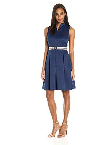 - ELLEN TRACY Women's Pique Fit and Flare Dress with Grosgrain Belt, Navy, 16