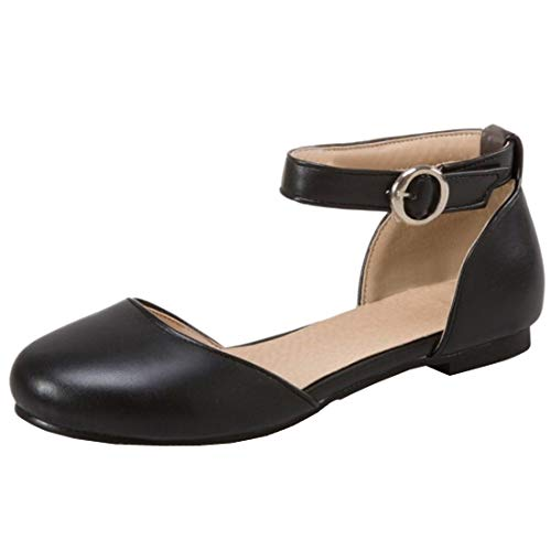 KIKIVA Women D Orsay Flats Ankle Strap Closed Toe Low Heel Dolly Shoes,9 M US,Black (Dolly Tom Shoes)