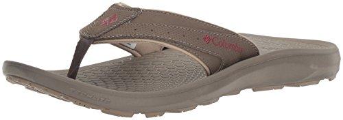 Columbia Men's TECHSUN FLIP Hiking Shoe, Mud, Red Element, 9 D US - Columbia Slip Sandals