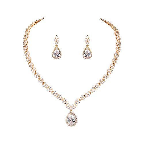 WeimanJewelry Silver/Gold Plated Women Cubic Zirconia CZ Marquise Teardrop Bridal Tennis Necklace and Drop Earring Set for Wedding Brides (Gold) (Set Jewelry Gold)