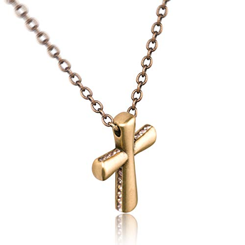Karseer Vintage Gold Simple Cross Charm Pendant Necklace with Cubic Zirconia Stone Crystals Sides-Mosaic Christian Religious Faith Retro Style Jewelry Gift for Women and Girls (16-18 Adjustable)