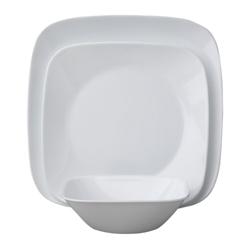 Corelle Square 16-Piece Dinnerware Set, Pure White, Service